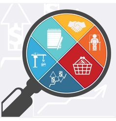 Magnifying glass and shopping basket vector