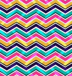 Pink yellow and blue zig zag seamless pattern vector