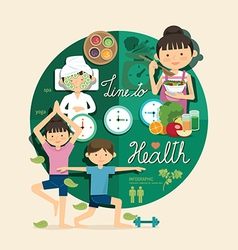Boy and girl time to health and beauty design vector