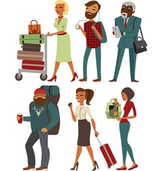 Travelling people with luggage vector