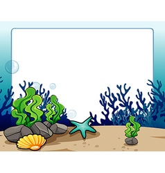 Border design with underwater scene vector