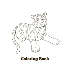Tiger cartoon coloring book vector
