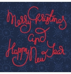 Cute xmas greeting card with red lettering vector