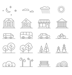 Buildings transport car and tree line vector