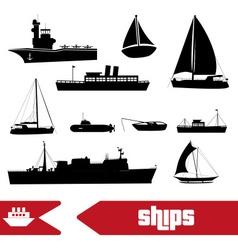 various transportation navy ships icons set eps10 vector image