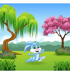 Cute bunny running in the jungle vector