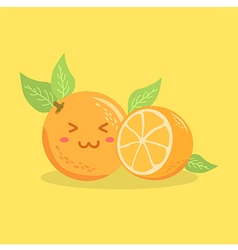 Cute orange fruit face vector