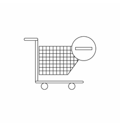 Shopping cart with minus icon thin line style vector