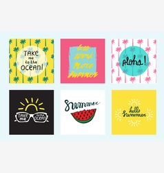 Set of 6 summer cards with quotes and symbols vector