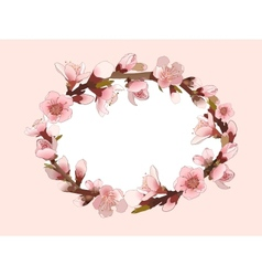 Background With Blossoming Pink Flowers vector image