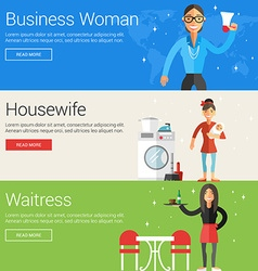 Business woman housewife waitress flat design vector