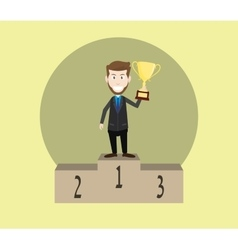 Businessman champion on the top and holding trophy vector