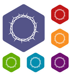 Crown of thorns icons set hexagon vector