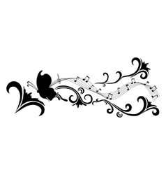 Doodle black abstract flowers and butterfly vector