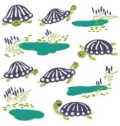 Earthen turtle and reeds with pond icon set vector