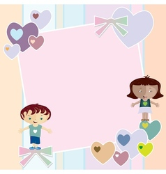 Frame with hearts and children vector