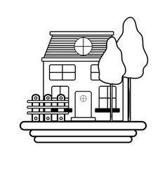 line beutiful house with grid wood vector image vector image