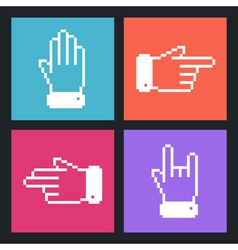 Modern pixel hand flat icons for web and mobile ap vector