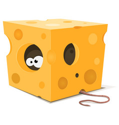 Mouse eyes inside piece of cheese vector