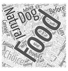 Natural choice dog food word cloud concept vector