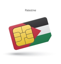 Palestine mobile phone sim card with flag vector