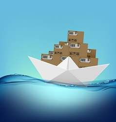 paper boat with boxes vector image vector image