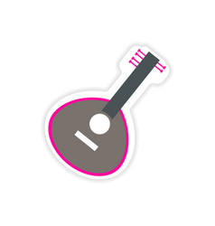 Paper sticker indian musical instrument on white vector