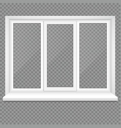 Realistic closed middle open plastic window on vector