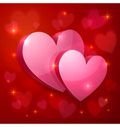 Realistic glossy hearts Valentines greeting card vector image vector image