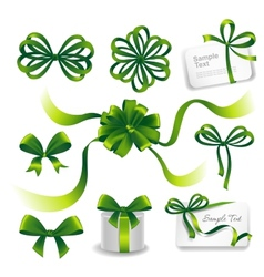 Set of green gift bows with ribbons vector