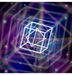 Shiny wired crystal with color aberrations in vector