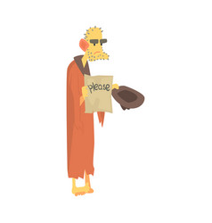 unhappy homeless man character in ragged clothes vector image vector image