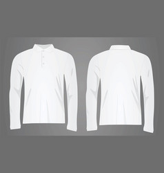 white polo shirt long sleeve vector image vector image