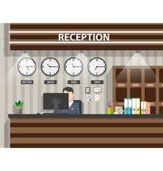 Wooden reception interior vector