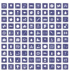 100 apple icons set grunge sapphire vector