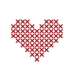 Hand-made red heart embroidered with a cross vector