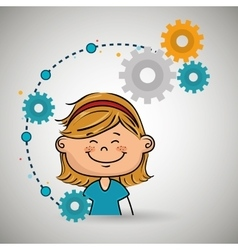 Cartoon girl gears icon vector