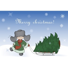 Boy pulling a sledge with christmas tree vector
