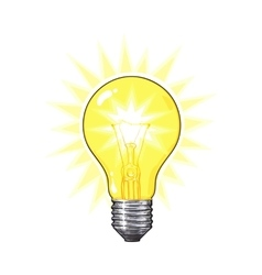 Old fashioned glowing tungsten light bulb side vector