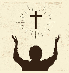 Silhouette of a praying man vector