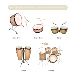 Set of drum instruments with drumsticks vector