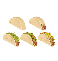 Traditional mexican taco stages of preparation vector