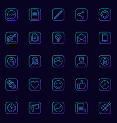 Blogging blue icons set vector
