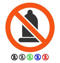 Forbidden condom flat icon vector