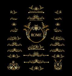 set of italian calligraphic design elements vector image