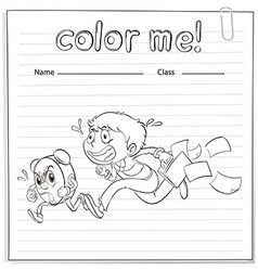 A worksheet with a boy and a clock running vector