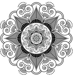Indian henna tattoo flower pattern vector