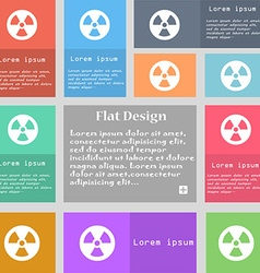 Radiation icon sign set of multicolored buttons vector