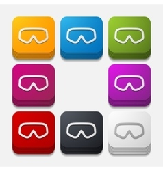 Square button mask vector