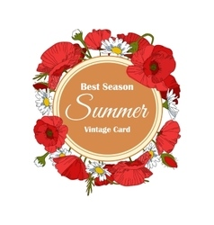 Summer hand drawn floral vintage card with poppy vector